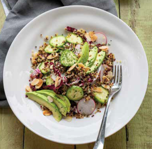 Toasted Quinoa and Avocado Salad with Buttermilk Almond Dressing