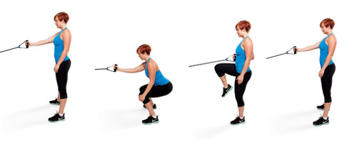 Single-Arm Resistance Band Squat and Row