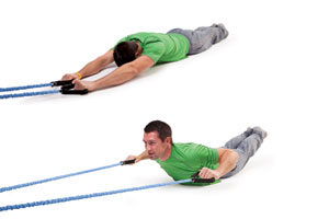 Laying resistance band pulldown