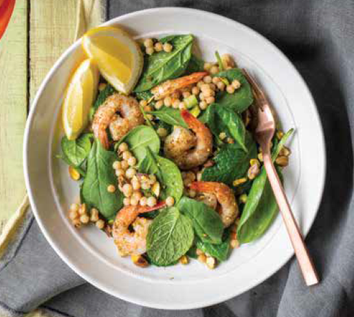 Warm Israeli Couscous and Spinach Salad with Grilled Prawns